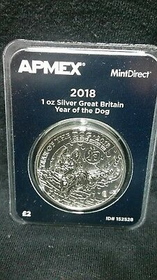 2018 1 oz Silver Great Britain Year of the Dog  .999 Apmex MintDirect Premier