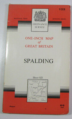 1963 Old Vintage OS Ordnance Survey Seventh Series One-Inch Map 123 Spalding