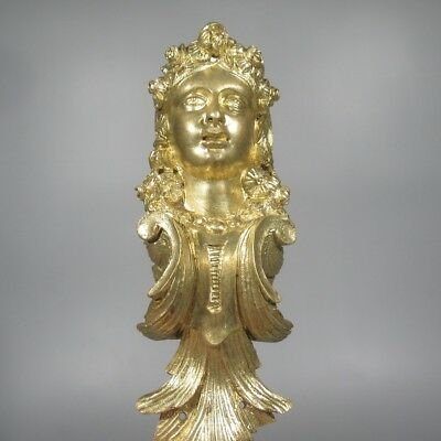 Large Antique French Gilded Bronze Furniture Decoration, Head of Woman, Flowers