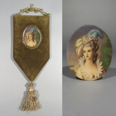 Antique or Vintage French Miniature Portrait Lady Woman, Celluloid, Velvet Frame