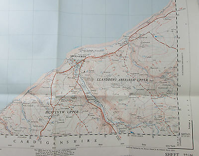 1949 vintage OS Ordnance Survey 1:25000 First Series map SN 46 Aberayron 22/46