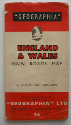 Old Vintage c1948 Geographia England & Wales Main Roads Map 12.5 miles = 1 inch