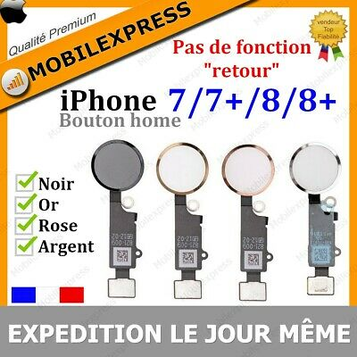 Bouton Home + Nappe Complet Iphone 7 7+ 8 8+ Plus En Noir Argent Blanc Dore Rose