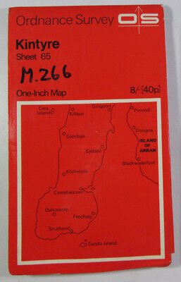 1960 Old Vintage OS Ordnance Survey One-inch Seventh Series Map 65 Kintyre