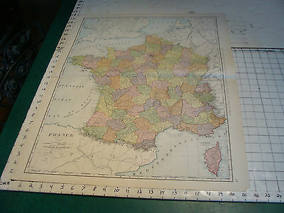 "Vintage Original 1898 Rand McNally Map: FRANCE aprox 28 x 22"" GREAT"