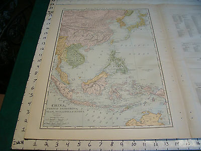 Vintage Original 1898 Rand McNally Map: CHINA SIAM KOREA MALAYSIA, 15 x 21""