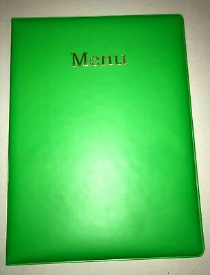 QTY 20 A4 MENU HOLDER/COVER/FOLDER IN LIME GREEN LOOK PVC - VERY flamboyant