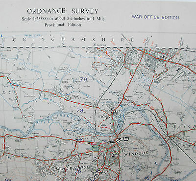 1947 Old OS Ordnance Survey 1:25000 First Series War Office Map SU97 Windsor