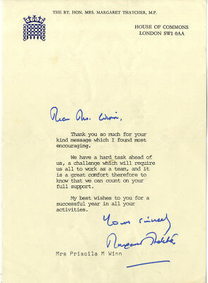 Baroness Margaret Thatcher ' British Prime Minister ' Hand Signed Typed Letter.