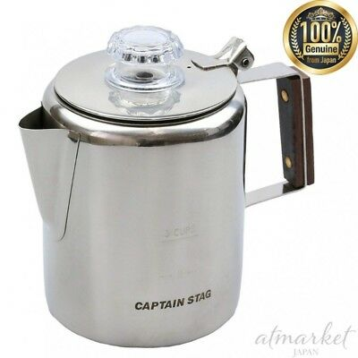 Captain Stag Cafetera M-1225 18-8 Acero Inoxidable Eléctrica 3 Tapones Frontal /