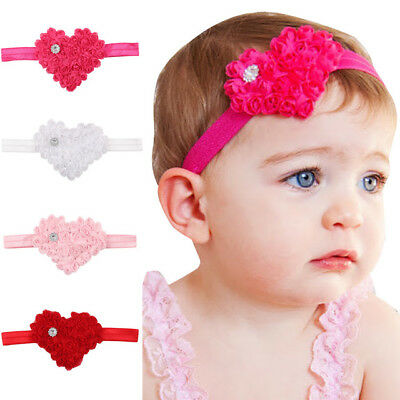 Baby Heart Headband Head Band Rhinestone Red Pink White Photo Prop Hair Hairband