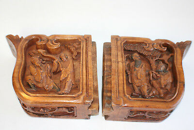 Pair of Antique Chinese Wooden Carved Double-sided Immortals & Crane Board Piece