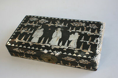 Antique Chinese Wooden Carved Inlay Mother of Pearl Picture Jewelry Trinket Box