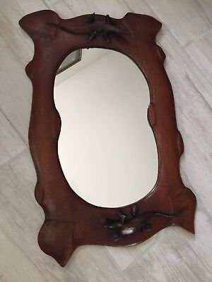 Antique Hand Carved Solid Wood LIZARDS Reptiles Wall Mirror ~ Arts & Crafts
