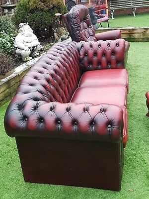 Chesterfield Hump Back 3 Seater sofa reclining lazy boy  Chair and foot stool