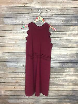 85be34936 Ted Baker Size 3 Large 12-14 Oxblood Natleah Scallop Detail Ribbed Dress  DA41
