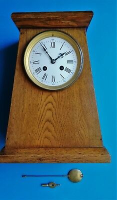 #087 EARLY 20th CENTURY FRENCH SOLID OAK PYRAMID SHAPED MANTLE CLOCK