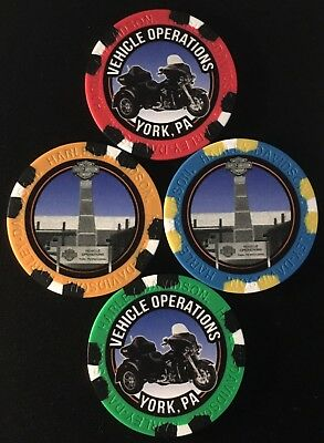 New Release VEHICLE OPERATIONS Harley Davidson Poker Chip-Orang Trike YORK PA