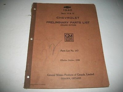 1940 Chevrolet Passenger Car Series 10-12 Early Issue Chassis Parts Catalog