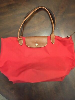 8a5cabfd085 LONGCHAMP 1948 LARGE Tote Bag Red Preowned - $11.57 | PicClick