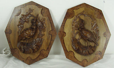 antique pair wooden oak and burl elm partridge medallion panel black forest