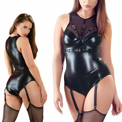 "Sexy Body Wetlook S M L XL Powernet Strapsbody Strapse Reizwäsche Erotik ""Ellie"""