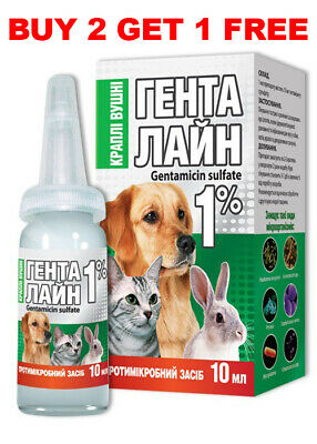 Gentamicin PET EAR Drops for Dog Cat Rabbit 10ml
