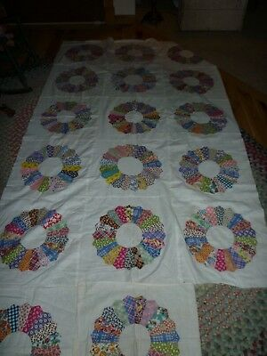 Original Vintage Dresden Plate Quilt Top Plus Extras To Finish