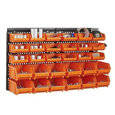 VonHaus 30 Pcs Wall Mount Storage Organiser Bin Panel Rack  DIY Tool Bits Boxes
