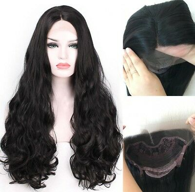 "AU 24"" Fashion Heat Resistant Hair Lace Front Wig Black Full Head Long Wavy"