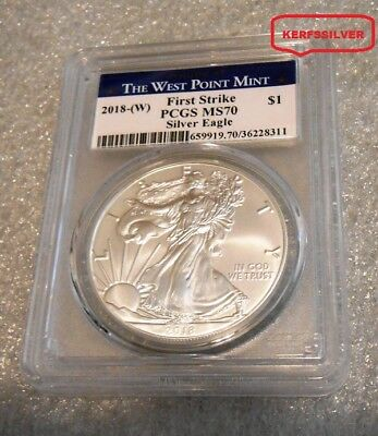 2018 (W)  First Strike  American Silver Eagle  West Point Mint Label - Pcgs Ms70