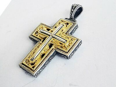 Antique Greek Byzantine Cross Pendant 925 Sterling Silver Gold Plated Code S825