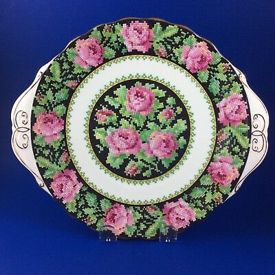 Royal Albert Crown China Needle Point Handled Cake Plate