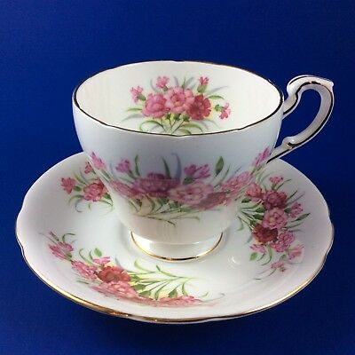 Paragon English Flowers - Carnations - Bone China Tea Cup And Saucer