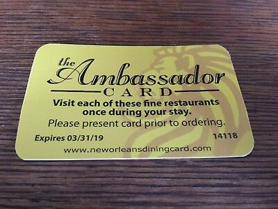 The Ambassador Dining Card For New Orleans, Louisiana -  You can save over $250