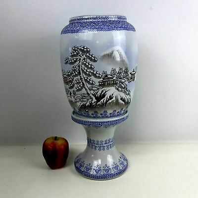 Vintage Chinese Eggshell Jingdezhen Porcelain Candle Stand W/ Winter Scene