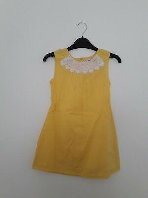 Ex M&S Autograph Girls Yellow Party Dress 100% Cotton Sizes 7-14 years