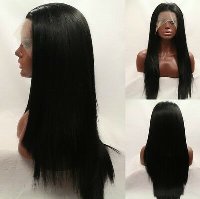 """AU 24"""" GlueLess Lace Front Wig Natural Black Synthetic Fiber Hair Straight Party"""