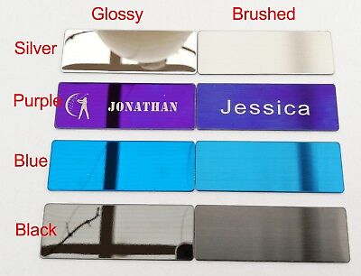 Personalized Metal Name Badge Visitor ID Stainless Steel Badge with Pin / Magnet