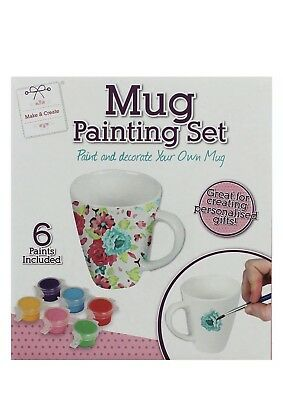 Paint Your Own Mug Kit Kids Decorating Craft Six 6 Coloured Paints