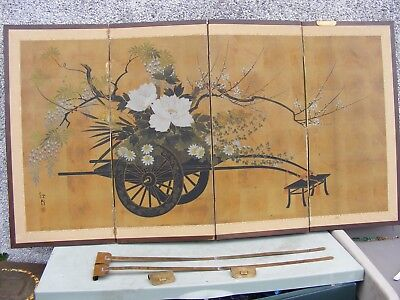 Antique Japanese Gold Ground Folding Screen Signed