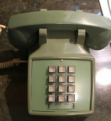Vintage Avocado Green Push Button Phone Desk Telephone Western Electric Bell ATT