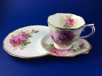 Royal Albert American Beauty Bone China Cup Snack / Tennis Set - 2 Available