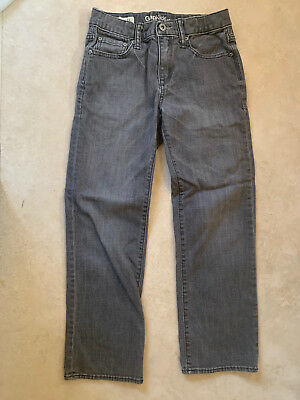 GAP Boys 1969 Original Adjustable Waist Regular Straight Leg Gray Denim Jeans