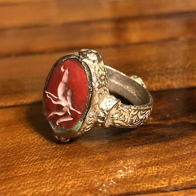 Ancient Islamic Style Stone Intaglio Middle Eastern Signet Ring Medieval? Red