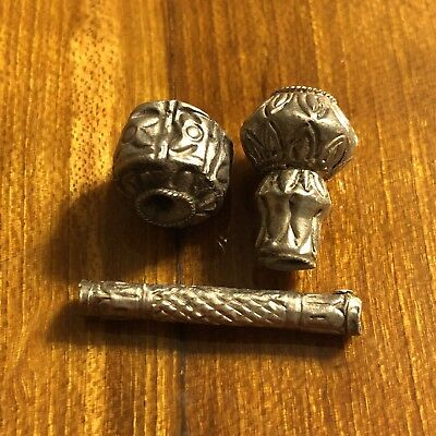 Ancient Medieval Silver Bead Roman European Authentic Antiquity Artifact Old