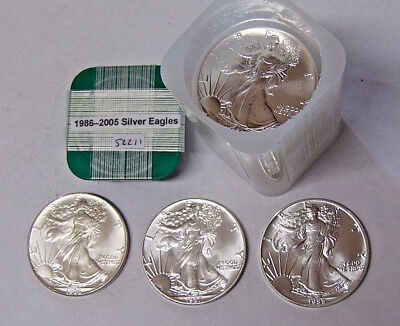 Complete Set American Silver Eagles 1986-2005 20 Coins .999 Fine Silver Dollars
