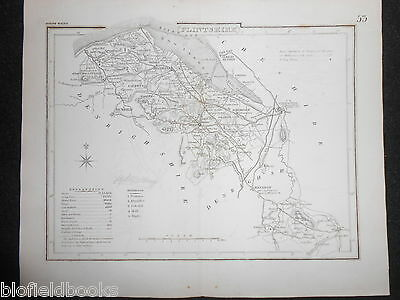 Original Antique Map of Flintshire (North Wales)  c1850s - Mold, Wrexham, Flint