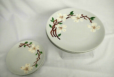 Orchard Ware California Hand Decorated White Dogwood Dinner(3) &  Side(3) Plates