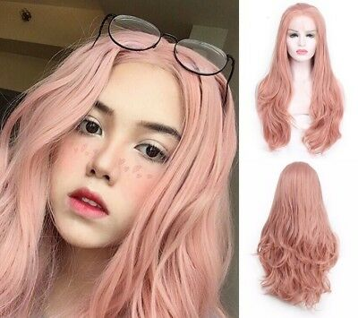 "AU 24"" Lace Front Wig Heat Safe Fiber Hair Full Head Smoke Pink Long Wavy"